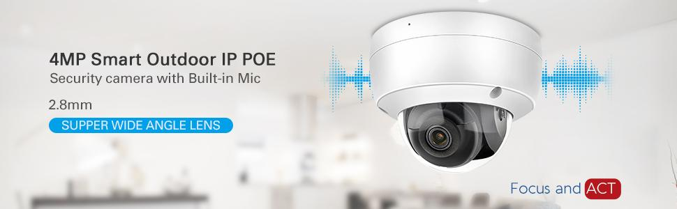 4MP POE IP Camera Dome with 2.8mm Lens, Built in Mic, MicroSD Recording
