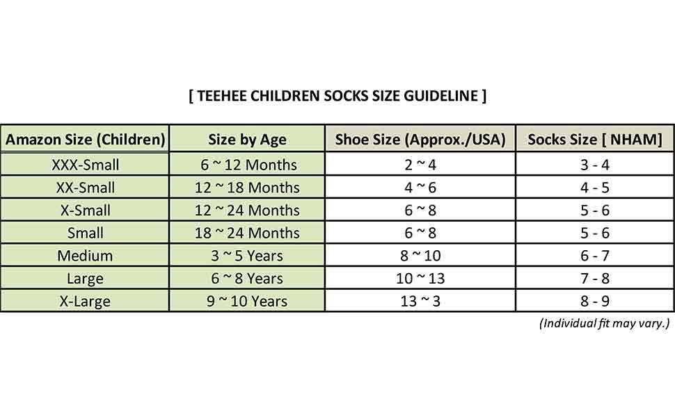 Size Guideline for Kids Crew Socks