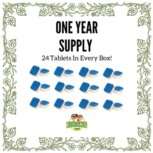 This picture shows how many tablets come in a box. There are 24 which equals a year's supply.