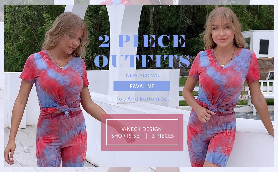FAVALIVE Two Piece Outfits for Women - Tie Dye Sweatshirt + Biker Shorts Set
