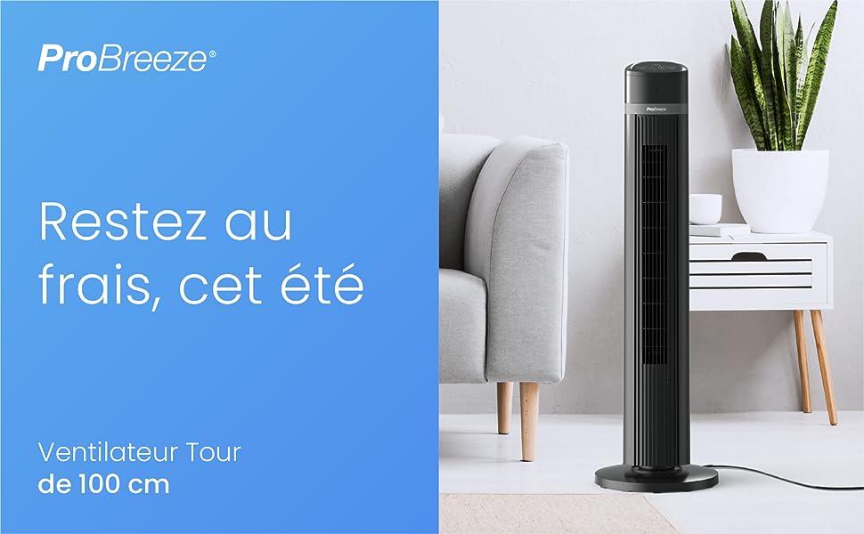 ventilateur tour probreeze grand 100 cm colonne puissant ete minuteur noir