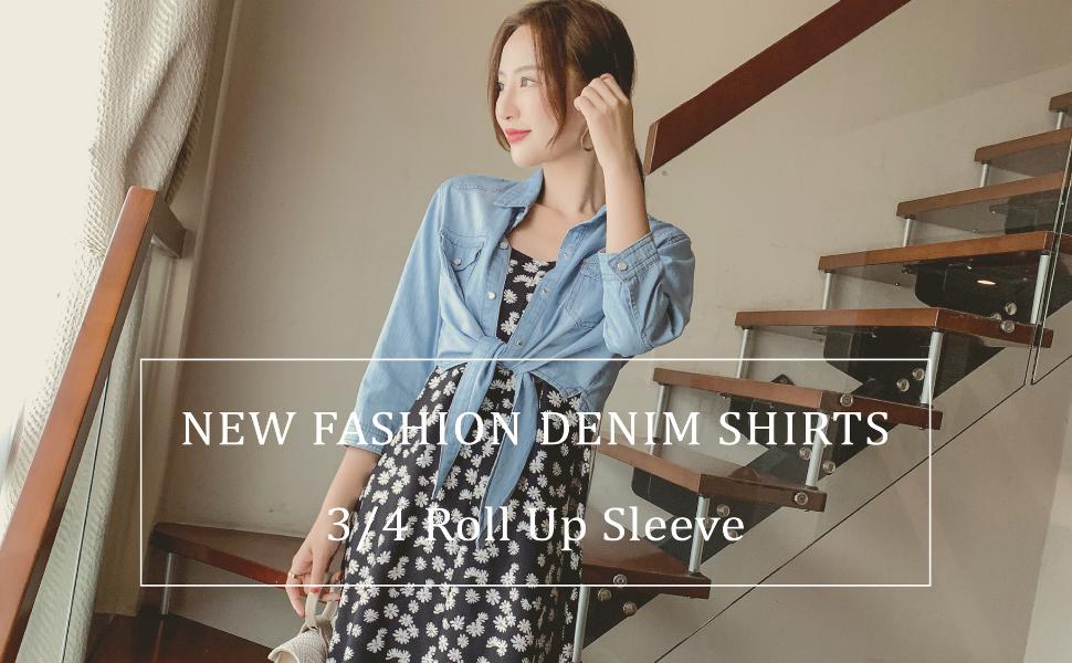 Women's Denim Jackets Roll-up Half Sleeve Tie Knot Front Crop Tops Casual Jeans Button Short Coats