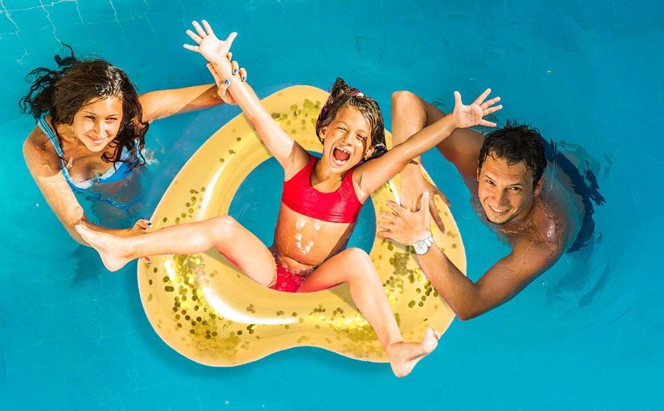 Gold Heart Inflatable Swim Ring