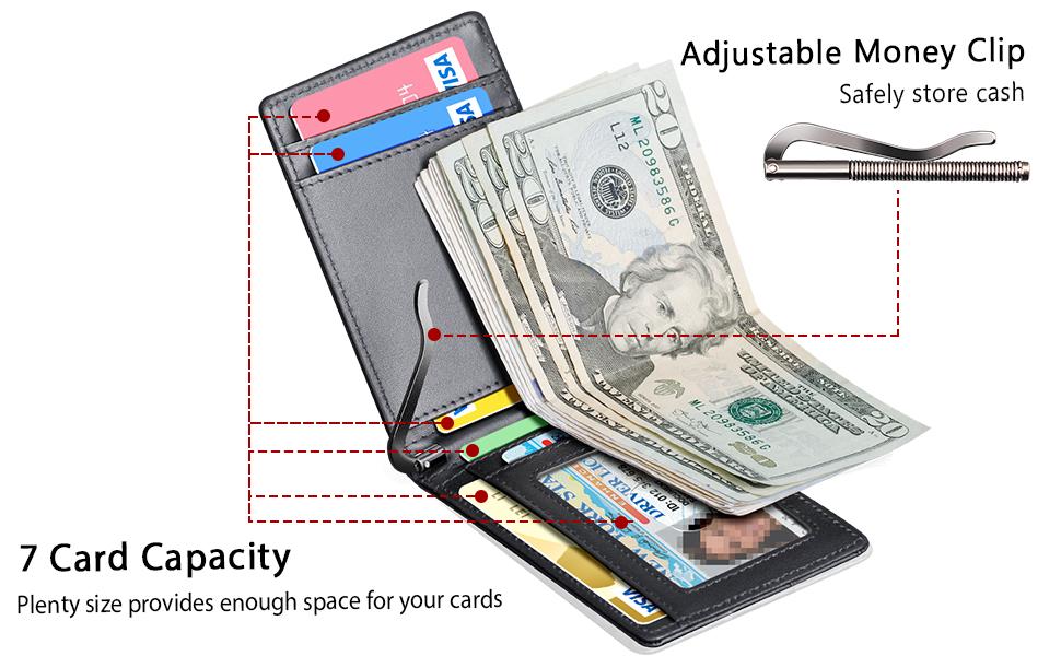 FurArt Mens Slim Bifold Wallet with Money Clip Minimalist Genuine Leather Wallets