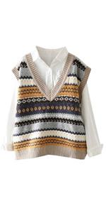 Women Ethnic Knitted Sleeveless Pullover Sweater Vest