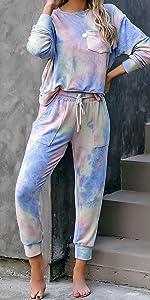 women pajamas set Tie dye printed pajama sets, long sleeve tops and pants lounge set,