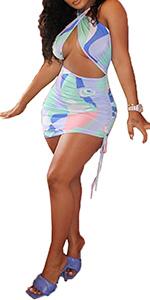 Halter Criss Cross Ruched Bodycon Mini Dress