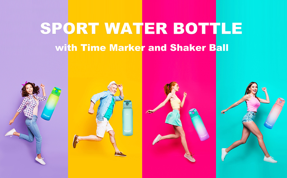 Water Bottle with Time Marker and Shaker Ball
