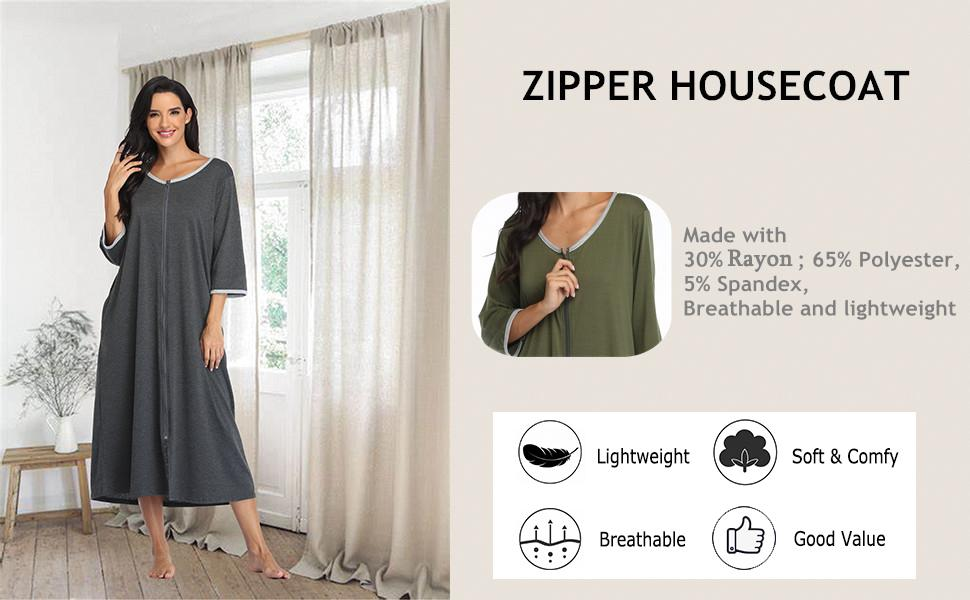 soft nightgown zipper front robe half sleeve loungwear full length long housecoat with pockets