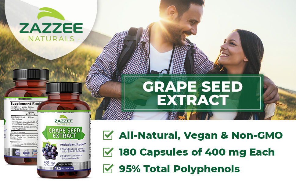 Zazzee Naturals Grape Seed Extract, All-Natural, Vegan, 180 Capsules and 95% Total Polyphenols.