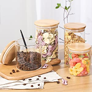 Glass Food Storage Jars with Bamboo Lids