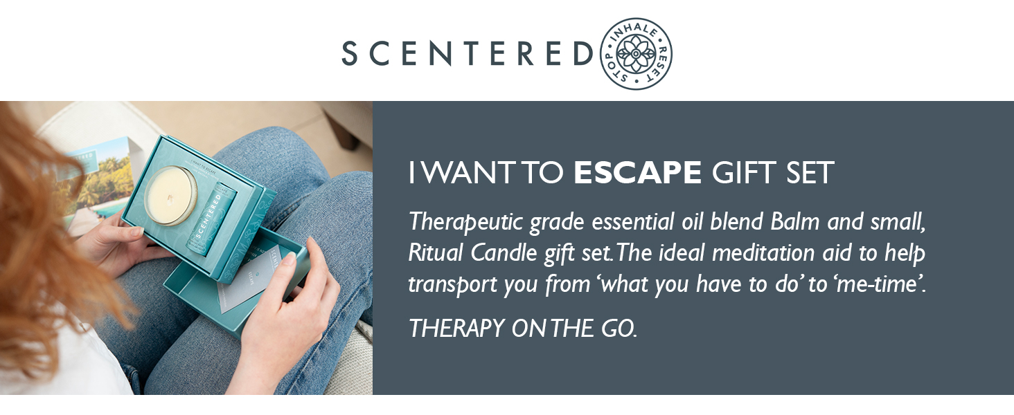 I Want To Escape Set Scentered Aromatherapy Candle and balm stick