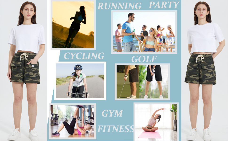 athletic shorts women sports workout bermuda shorts for womens cargo shorts ladies shorts elastic