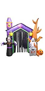 8.5 Foot Halloween Inflatable Haunted House Castle with Skeleton, Ghost, Tree and Pumpkin