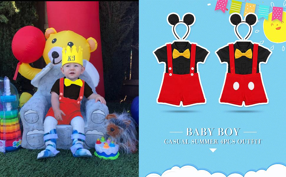Gentleman First Birthday Cake Smash Outfits for Baby Boys Formal Suit Bowtie Bib Pants Mouse Ears Halloween Set