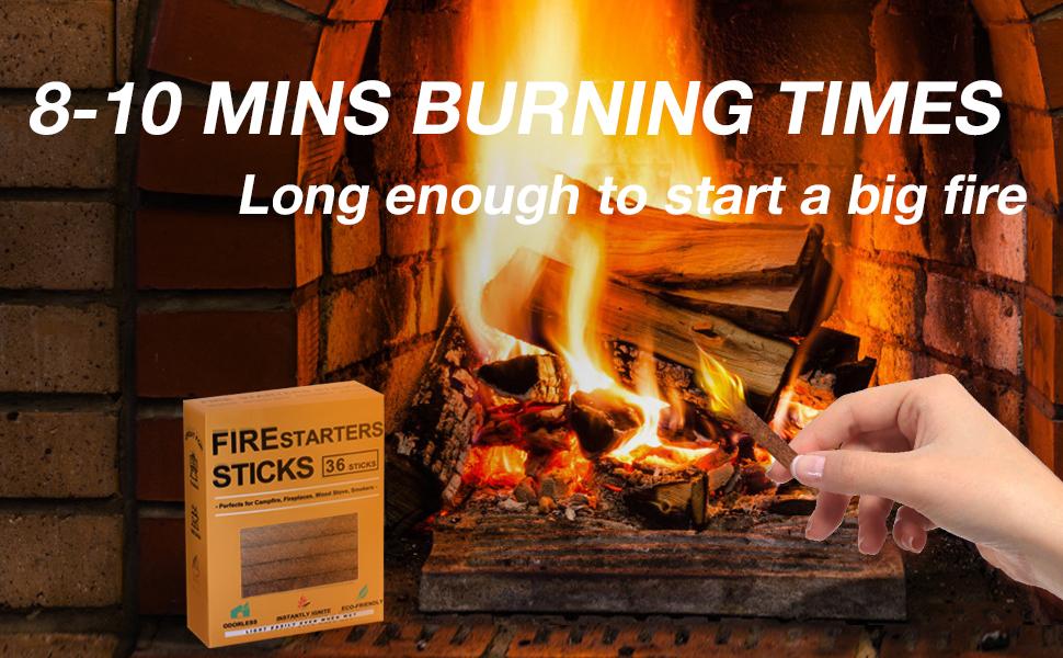 8-10 Mins Burning Time, long enough to start a big fire