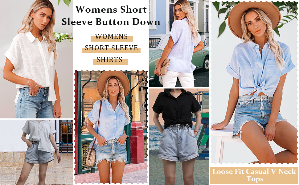 Women's Loose Casual Short Sleeve V-Neck Chiffon Top T-Shirt Blouse