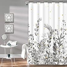 grey white shower curtain