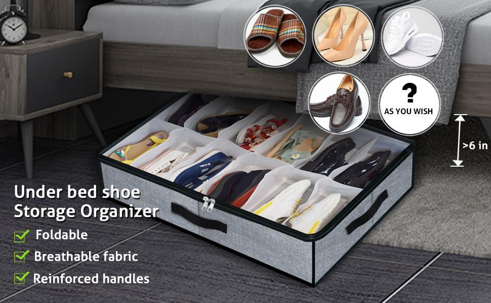 Under Bed Shoe Storage Organizer Fits 12 Pairs