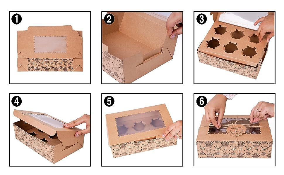 6 pc cupcake assembly