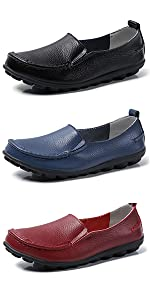 Loafers for Women Comfortable Slip On Shoes Casual Leather Walking Flats Outdoor Driving Shoes