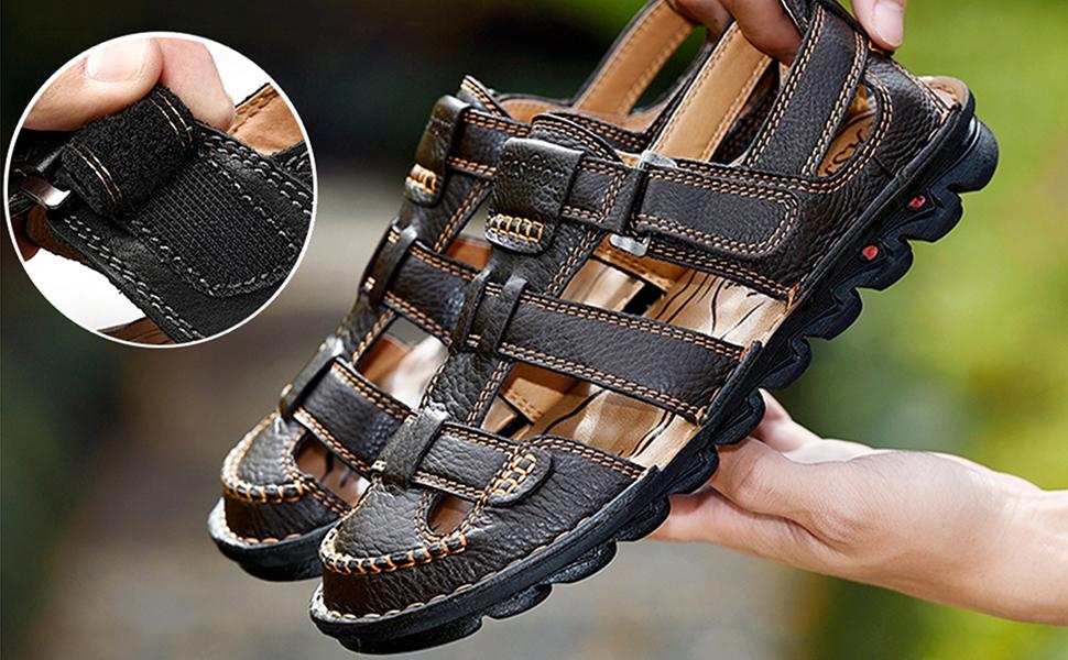 JIONS Mens Closed Toe Leather Sandals Summer Outdoor Fisherman Walking Adjustable Velcr Sandals