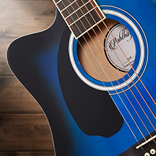 acoustic-electric dreadnought cutaway left-handed guitar, blue, sound hole rosette, spruce tonewood