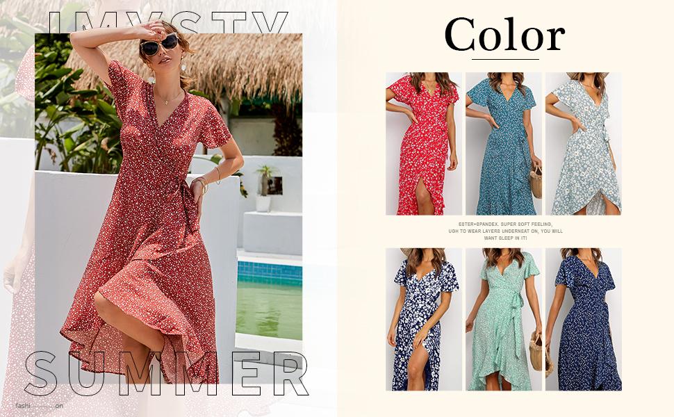 Fashion Floral Short Sleeve V Neck Summer Casual Loose Ruffles Bohemia Wrap Dresses For Women