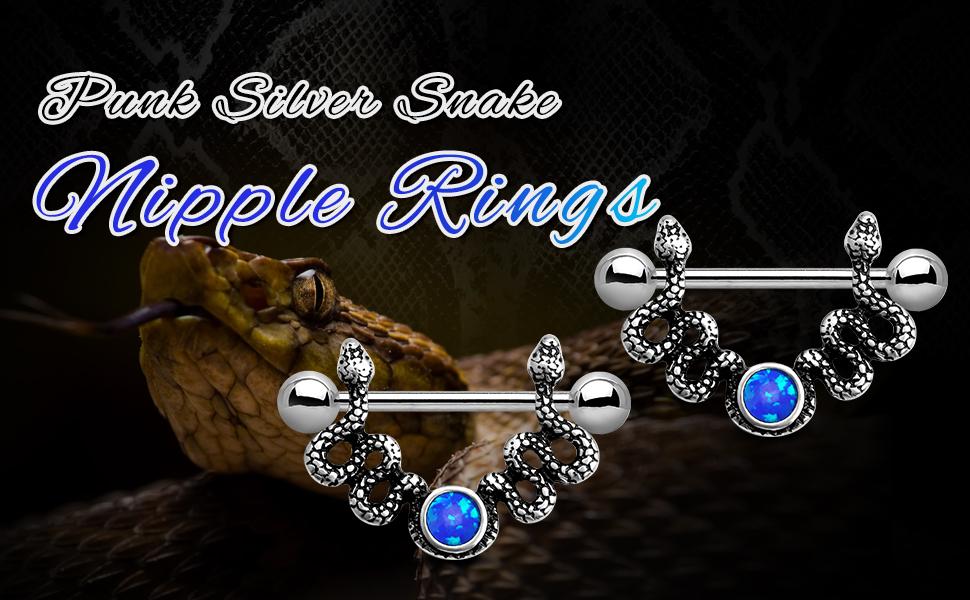 snake nipple rings