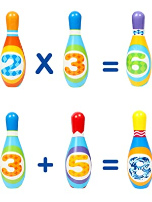 The bowling pins are painted with bright color numbers