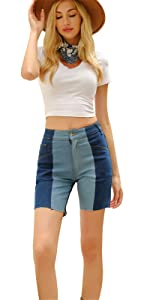 Patchwork Denim Shorts for Women Lounge Bermuda