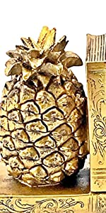 Bellaa Decorative Bookends Antiques Book Ends Vintage French Pineapple Bookshelves Decor