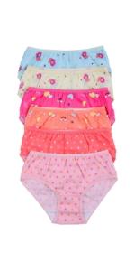 girls pack of six bikini panty panties patterned plain