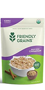 Friendly Grains Allergy Friendly Brown Sugar Cinnamon Cereal. Puffed Brown Rice.