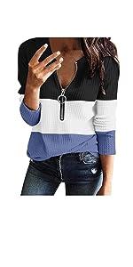 Womens Zipper V Neck Pullover Sweatshirt
