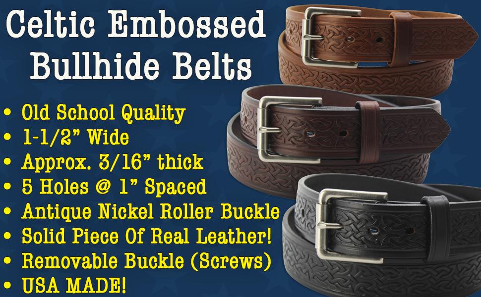 Bullhide Leather Celtic Belt Embossed Design (20304)