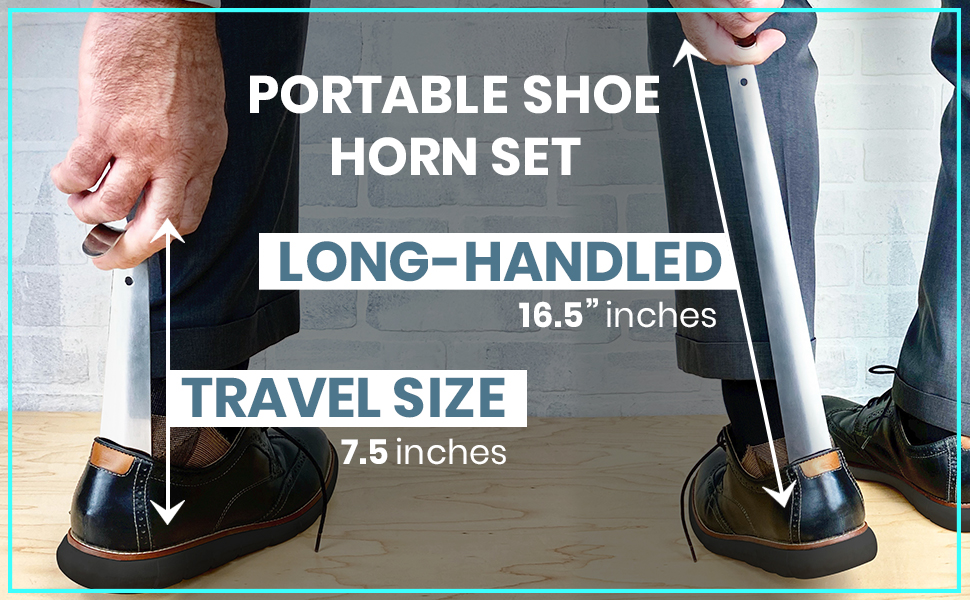 PORTABLE SHOE HORN SET: Both can easily be stowed in a bag or suitcase and taken on the go!