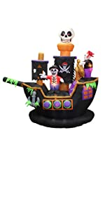 7 Foot Halloween Inflatable Skeletons Ghosts on Pirate Ship Lights Decor Outdoor