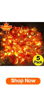 5 Pack Maple Leaves Garland String Lights,Thanksgiving Decorations Fall String Lights