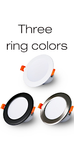The ring color of the downlight can be white, black and stainless steel