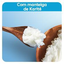 Imagem: manteiga de Karité; Texto: Com manteiga de Karité