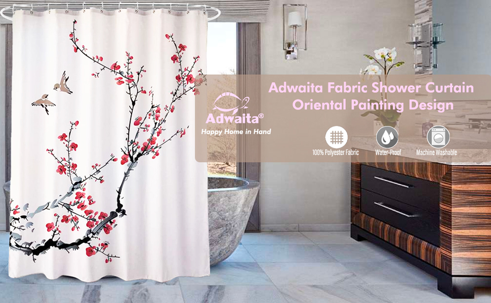Adwaita Fabric Shower Curtain-Oriental Painting Design