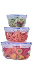 pack of 3 sealed food containers