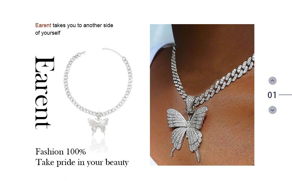 Earent Crystal Butterfly Choker Silver Cuban Link Chain for Women and Girls