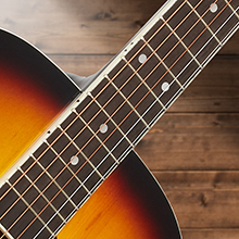 Ashthorpe acoustic-electric guitar, sunburst, neck and fret board closeup, dreadnought design