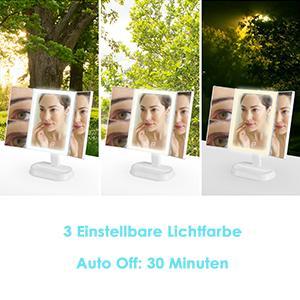 Kosmetikspiegel mit LED Licht, Schminkspiegel Beleuchtet mit Blendfreier