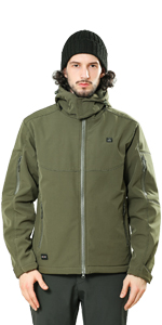 Olive Green Detachable Hood Outdoor Electric Heating Coat