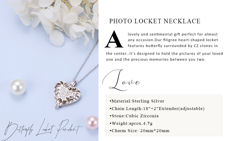 Butterfly Heart Locket Photo Pendant Necklace That Holds Pictures Silver Jewelry Gifts for Women