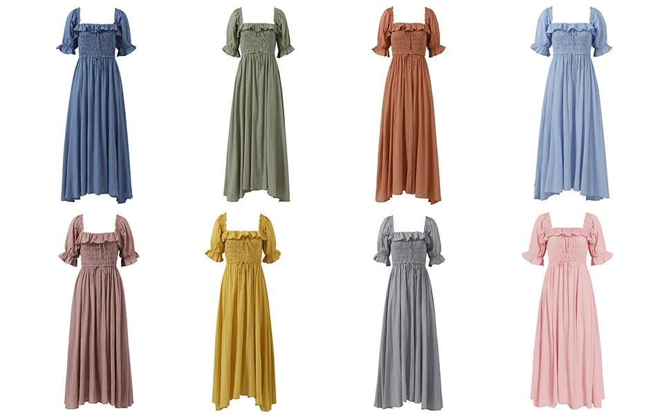 Square Neck Ruffled Half Sleeve Summer Backless Beach Flowy Maxi Dresses