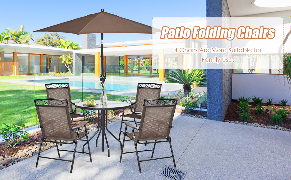 set of 4 patio dining chairs